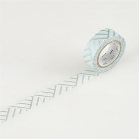 Washitejp -  Mönster ljusblå och silver