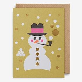 Julkort Snögubbe