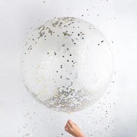 Jumbo Confettiballong Guld-Silver