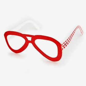 Glasögon Röda/Vita prickar