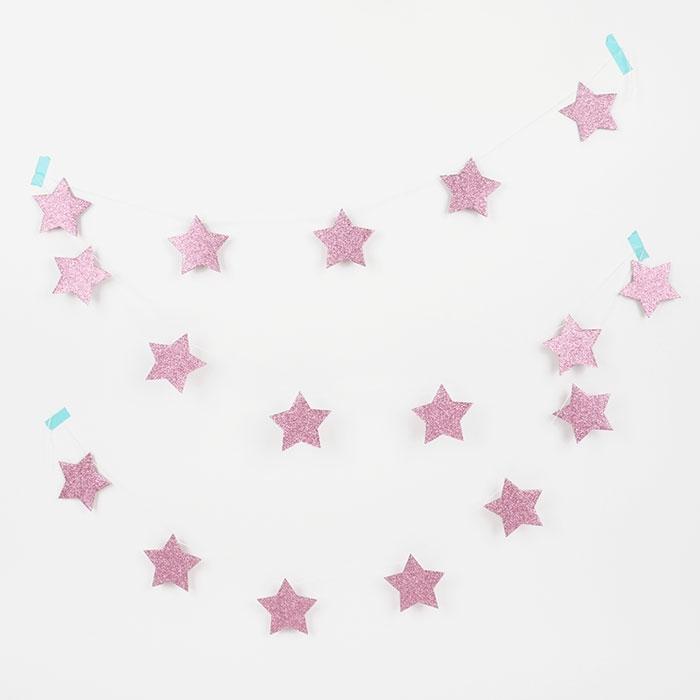 Girlang Stjärnglitter Rosa