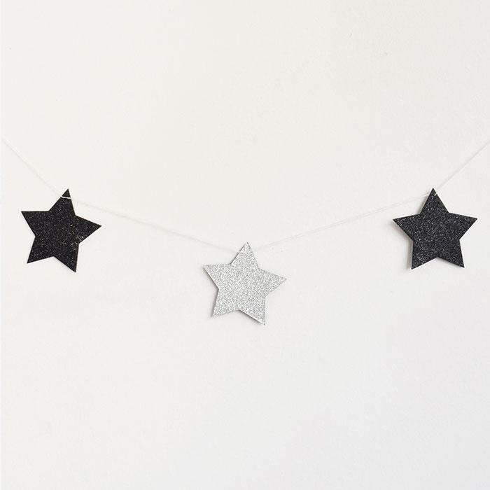 Girlang Stjärnglitter Svart