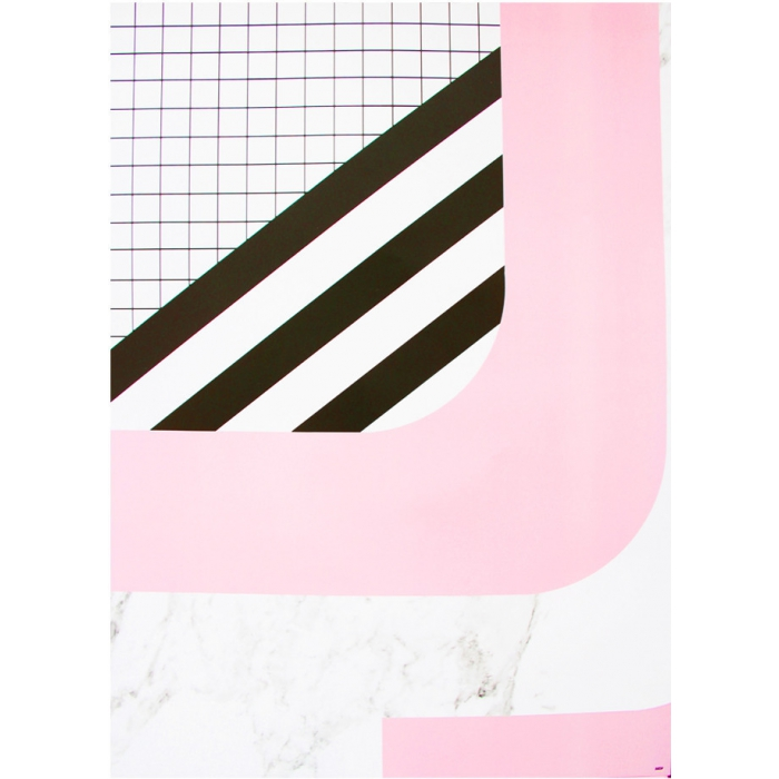 Presentpapper Pink and Grid Mix
