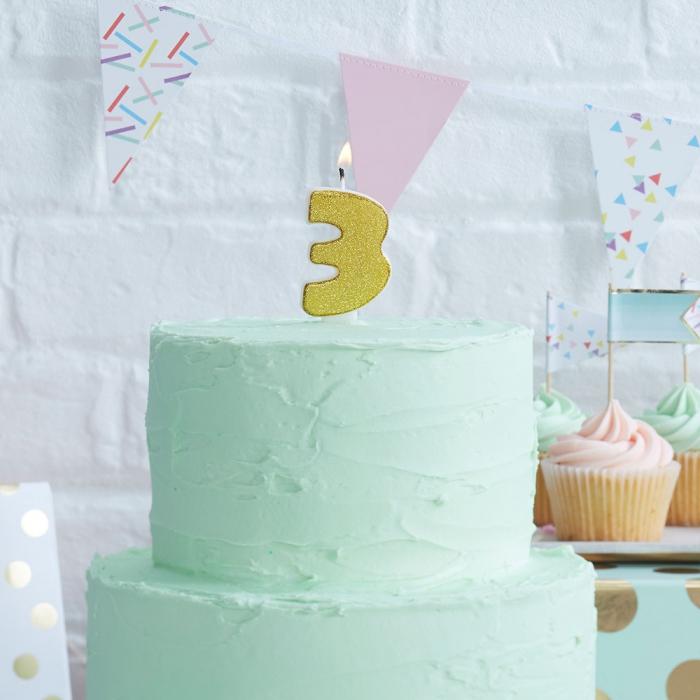 Tårtljus - 3:a Guld