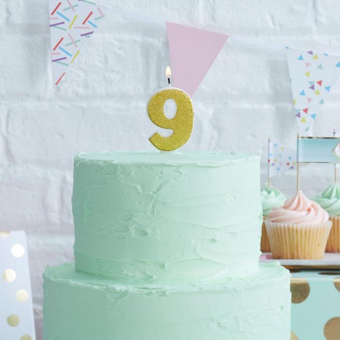 Tårtljus - 9:a Guld