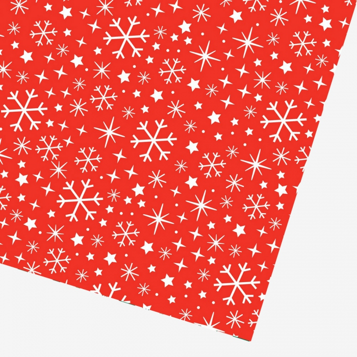 Presentpapper Snowflake red