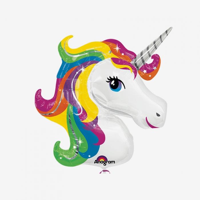Folieballong - Regnbågsfärgad enhörning