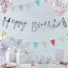 Girlang Happy Birthday Script Silver