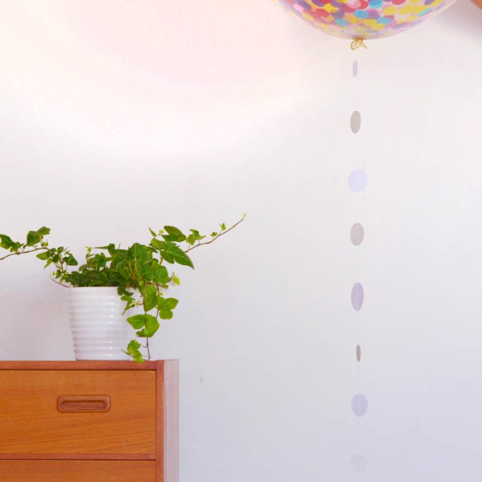 Ballong tail - Confetti silver & vit