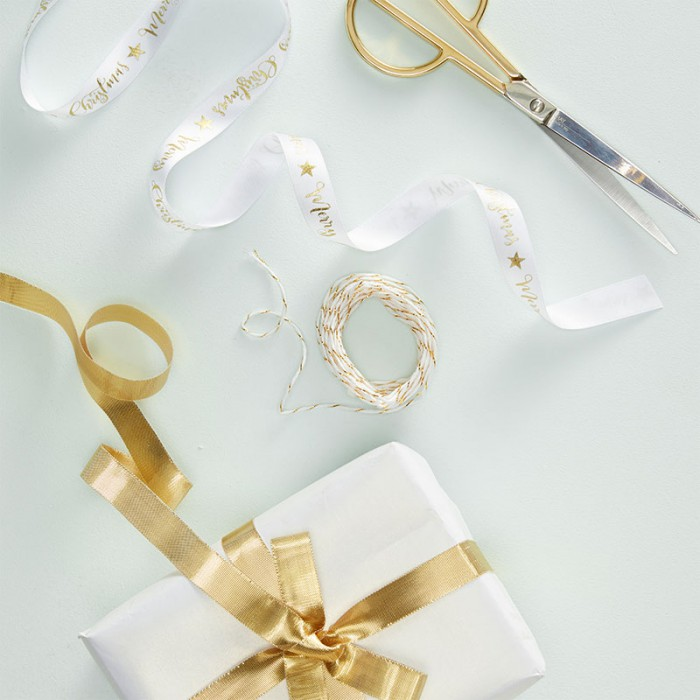 Presentbandkit Merry Christmas Guld