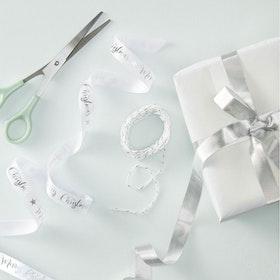 Presentbandkit Merry Christmas Silver