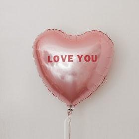 Folieballong - Hjärta med budskap - Puderrosa
