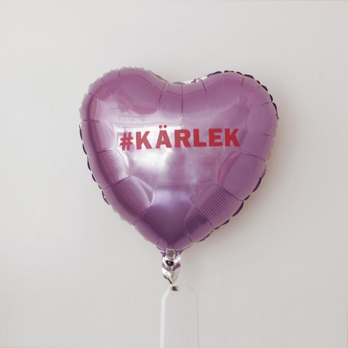 Folieballong - Hjärta med budskap - Lila