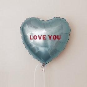 Folieballong - Hjärta Valentines Puderblå