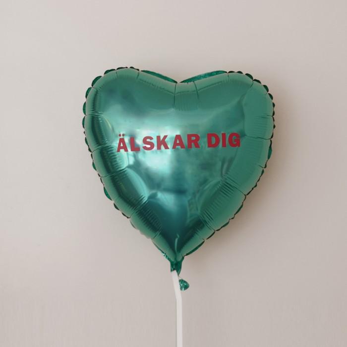 Folieballong - Hjärta Valentines Tiffany blå