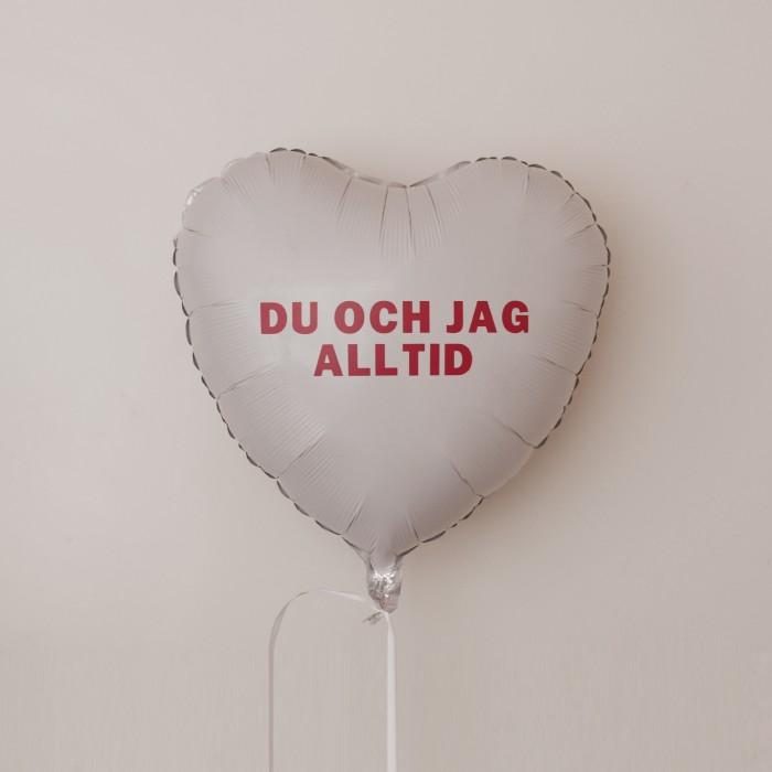 Folieballong - Hjärta med Budskap - Vit