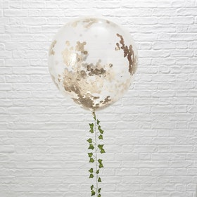 Jätteballonger - Konfetti Roséguld
