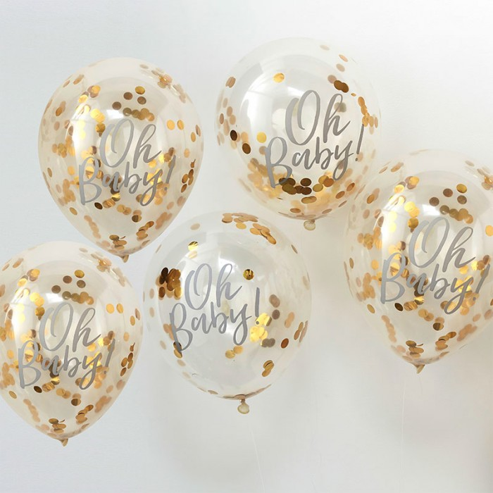 Konfettiballonger Guld - Oh Baby