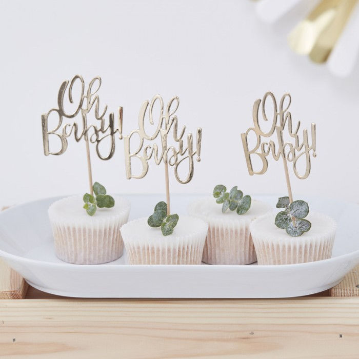 Cupcake toppers Guld Oh Baby