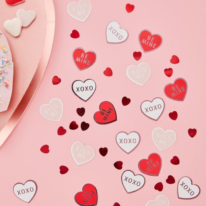 Konfetti Hjärtan Valentines