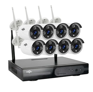 HISEEU Komplett Övervakningssystem 8st trådlösa IP-kameror IP66