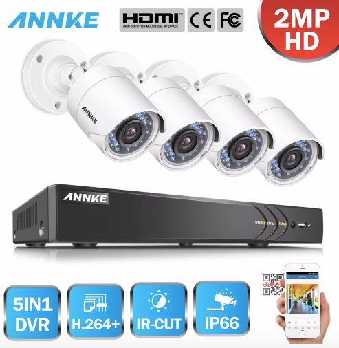 ANNKE Övervakningssystem 4st kameror 1080P IP66