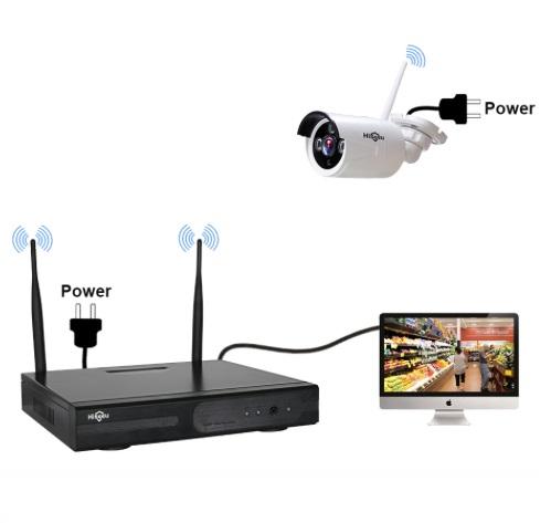 HISEEU Övervakningssystem trådlösa IP-kameror, Wi-fi NVR 720P