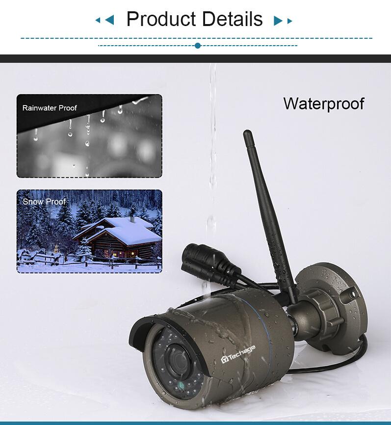 Techage 720p HD Övervakningssystem 8 st trådlösa IP-kameror