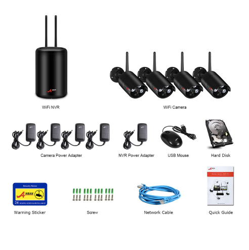 ANRAN Trådlöst Övervakningssystem 1080P 1TB
