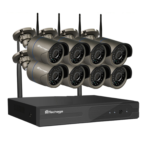 Techage 1080p HD Övervakningssystem 8 st trådlösa IP-kameror, Wi-fi NVR-kit