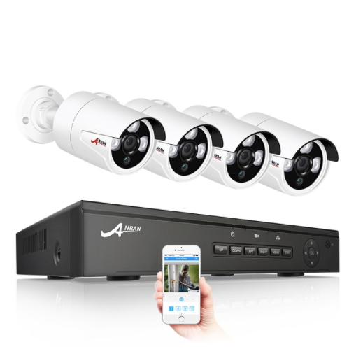 ANRAN PoE Övervakningssystem 4st IP-kameror 1080P IP-66