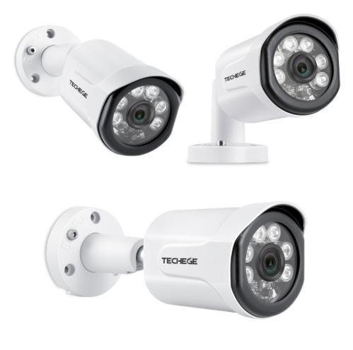 Techege PoE Övervakningssystem 1080P 4 Kameror IP66 4MP