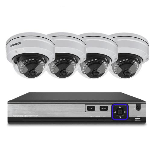 Techege PoE Övervakningssystem 1080P 4 Kameror IP66 5MP