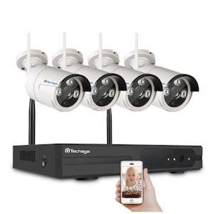 Techage 1080p HD Övervakningssystem 4 st trådlösa IP-kameror, Wi-fi NVR-kit