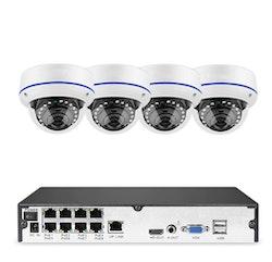 Komplett PoE Övervakningssystem Sumoguard 1080P 4 Kameror