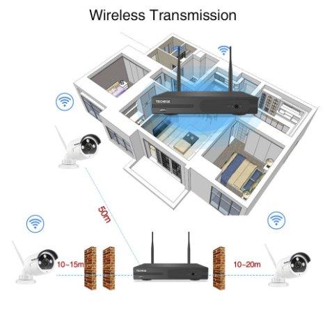 Techege 1080p HD Övervakningssystem 8 st trådlösa IP-kameror, Wi-fi NVR-kit