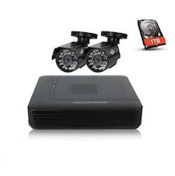HISEEU övervakningssystem 2st kameror 720P IP 66, 1080P DVR
