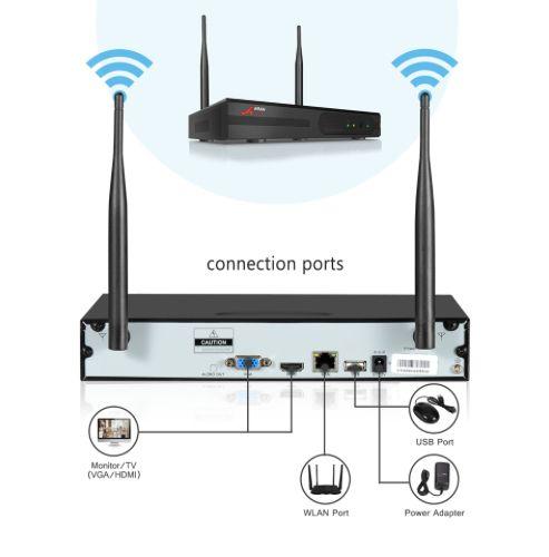 ANRAN Övervakningssystem+1TB HD, trådlösa IP-kameror, Wi-fi NVR-kit 1080P