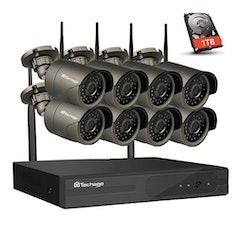 Techage 720P Övervakningssystem+1TB HD 8 st trådlösa IP-kameror Wi-fi NVR-kit