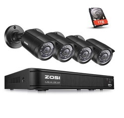 ZOSI Övervakningspaket 4st kameror 720P+1TB HD Vattentät