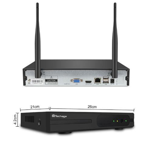 TECHAGE WiFi övervakningssystem 4st kameror 720P IP66