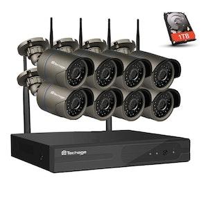 Techage 1080p HD Övervakningssystem 8st trådlösa IP-kameror Wi-fi NVR-kit+1TB