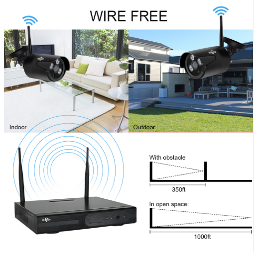 HISEEU Övervakningssystem 4st IP-kameror 960P 1TB
