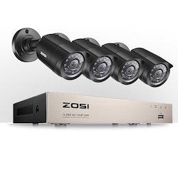 ZOSI Övervakningspaket 4st kameror 720P Vattentålig 1TB