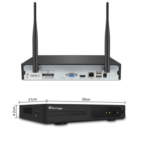 Techage 720p HD Övervakningssystem 4 st trådlösa IP-kameror, Wi-fi NVR-kit 1TB