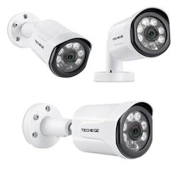 Techege PoE Övervakningssystem 1080P 4 Kameror IP66 4MP + 1TB
