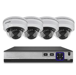 Techege PoE Övervakningssystem 1080P 4 Kameror IP66 2MP 1TB