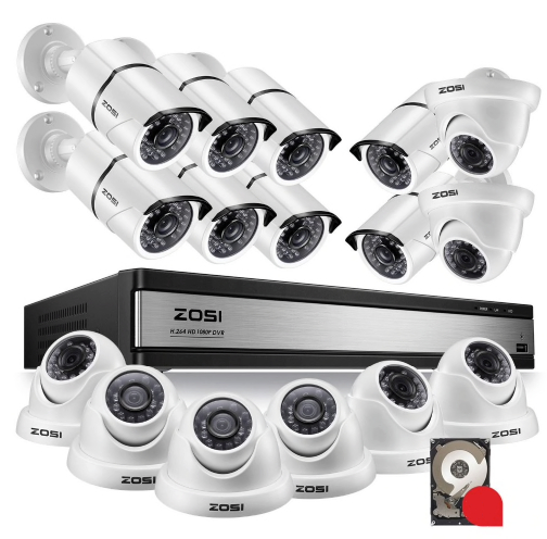 ZOSI Övervakningspaket 16st kameror 1080P IP67 1TB