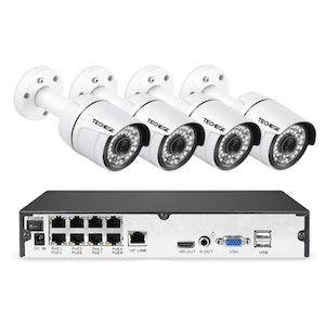 PoE Övervakningssystem 8 kanaler Techege 1080P 4 Kameror Mikrofon 1TB