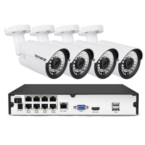 Komplett PoE Övervakningssystem 8 kanaler Techege 1080P 4 Kameror 1TB